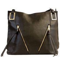 Black Faux Leather Tote With Zipper Accents