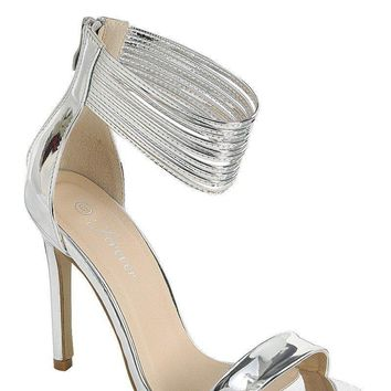 Silver Strappy High Heels