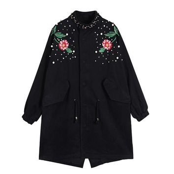 2017 Flower Embroidery Patch Design Pearl Beading Plus Size Women Jacket Coat Vintage Women Long Jacket Coat Black Abrigos Mujer