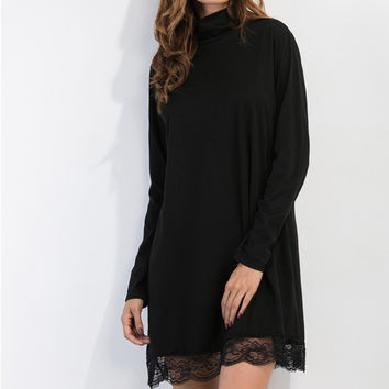 Turtleneck A long Sleeved Lace Stitching Casual Dress