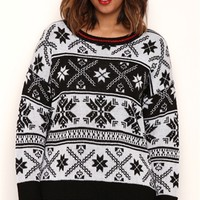 Plus Size Long Sleeve Fair Isle Print Sweater