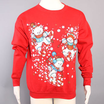 80s Ugly CHRISTMAS SWEATER / Glittery Skiing Teddy BEARS Sweatshirt