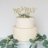 MR and MRS wedding cake topper in gold, silver or champagne glitter