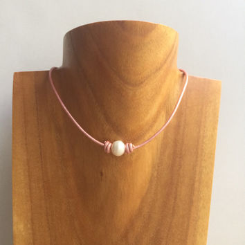 Pearl Choker Necklace, Pink Choker Leather, Leather Pearl Choker, Freshwater Pearl Choker Necklace