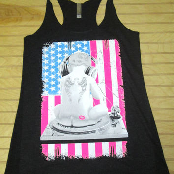 Tri Blend Racerback Tank Top  Baby DJ US Flag 4th Of July