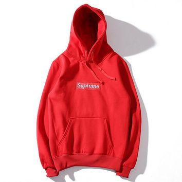 Supreme Couple Casual Letter Print Velvet Long Sleeve hooded Pullover Sweatshirt Top Sweater hoodie(9-Color) Red