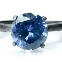 Ice Blue Sapphire Ring, Silver Cocktail Ring,