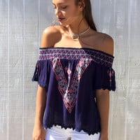 Just Add Sun Top - Navy
