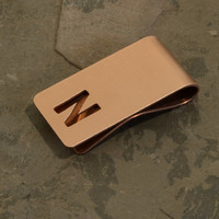 Personalized Initial Cut Out Copper Money Clip with  Hammered Finish for 7th anniversaries, dads, and custom gifts