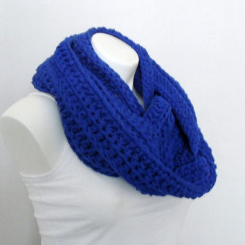 Royal Blue Chunky Infinity Scarf, Tube, Eternity Cowl
