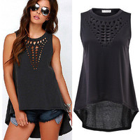 Hot New 2016 Women Retro Black Hollow Out Tank Tops Sexy Vest Sleeveless blusa Casual Loose Shirt Blouse Crochet Tops Cheap