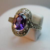 Vintage Look New Sterling Silver ring 1.12ct Purple Oval Amethyst Sz 6 REDUCED