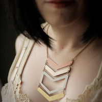 Chevron Multi Metal Necklace with Brass and Copper