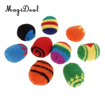 MagiDeal 2.2inch Wool Woven Kick Ball Hacky Sack Footbag Juggle Ball Outdoors Garden Party Picnic