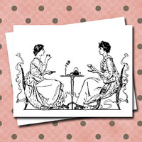 Tea with Friends Stationery Sisters Teacup Teapot Vintage Style Note Cards Set Blank Greeting Cards Black and White