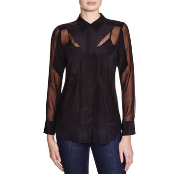 Charlie Jade Womens Silk Sheer Button-Down Top