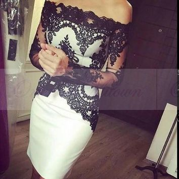 White and Black Lace Knee Length Short Cocktail Dresses with Long Sleeves Boat Neck Prom Party Dress Gowns 2017 Robe cocktail