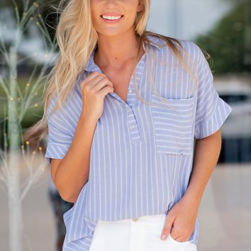 Your Day Everyday Hi-Low Stripe Shirt: Chambray Blue