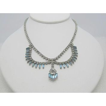 "Vintage Art Deco Rhinestone Bib Necklace, Teal and Clear, 15"", 1940's1950's"