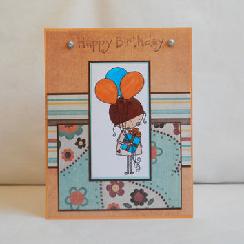 Birthday Card, Paper Handmade Greeting Card, Happy Birthday, Blank Card, Orange, Blue, Card Shop, Birthday Greeting, For Her, Hand Colored