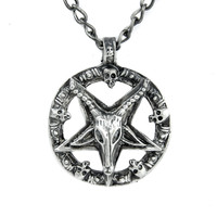 Baphomet Inverted Pentagram Necklace Black Metal Satan