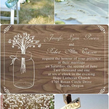 Wood Mason Jars Wedding Invites - Rustic Wedding Invitation Kits - Unique & Special EWI245