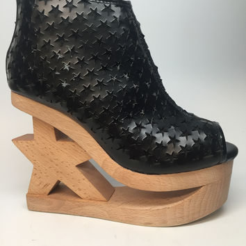 "Jeffrey Campbell ""Skate-Star"" Wooden Wedge Heel"