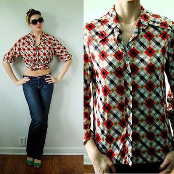 VINTAGE 1960s Red & Black Plaid Blouse Rockabilly HUNTER Style
