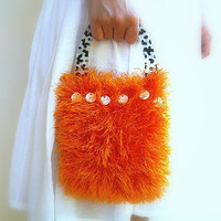 Fluffy Hand Bag, Knitted Luxury Orange Yarn Pouch, Cheetah Plastic Handle, Zebra Lining, Mother Of Pearl Ivory Beads, OOAK