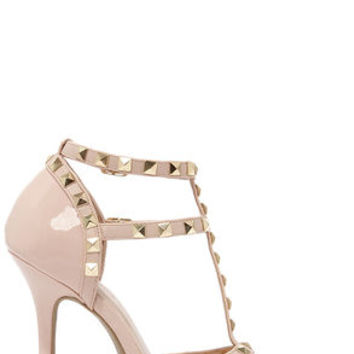 Wild Diva Lounge Adora 64 Nude Patent Studded Pointed Heels