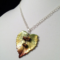 Autumn Birch Leaf with Copper Beads Pendant Necklace