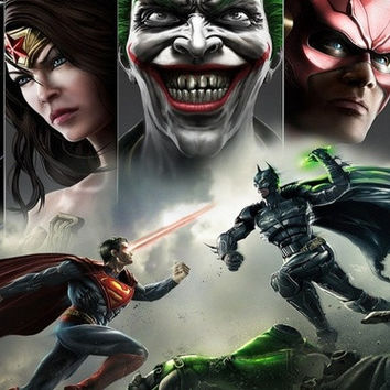 "FC088BT Print Anime Poster ""joker, smile, batman,  Gods Among Us, superman, Wonder women, green lantern"" Art Decor 24x36 in."