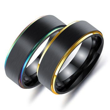 Punk Simple Stainless Steel Finger Ring for Cool Men 7mm Width Polished Multicolor/gold Male Rings Jewelry Accessories size 7-11