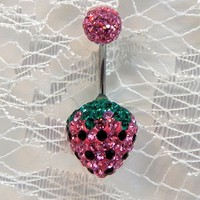 Belly button piercing ring with short 9 - 10mm bar and brilliant and lovely Swarovski crystal strawberry in pink and green 16ga