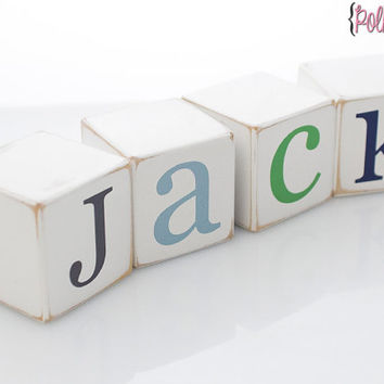 Personalized Wooden Name Baby Blocks - Letter Blocks- UV PRINTED - BASIC