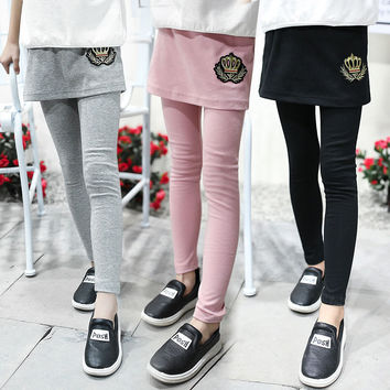 Girls Leggings Cotton Pants For Girls Skirts Pants 2017 Spring Autumn Casual Girls Trousers 4 6 7 9 10 11 12 Years