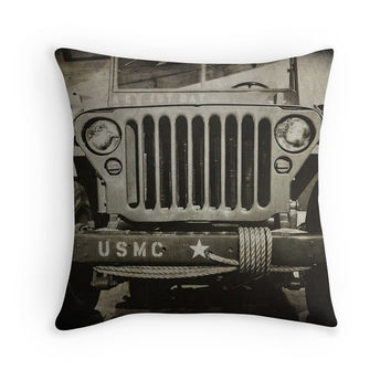 Marine Corps Jeep Photo Throw Pillow Cover, Home Decor, 16x16, 18x18, 20x20, Vintage Jeep Pillow Cover, Black and White, Army Jeep, Man Cave