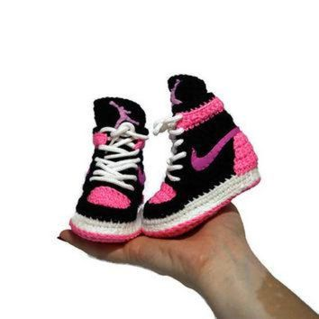 DCK7YE Crochet Baby Air jordan Sneakers, Girl Baby Air Jordan Shoes, Girl Baby Pink Crochet S