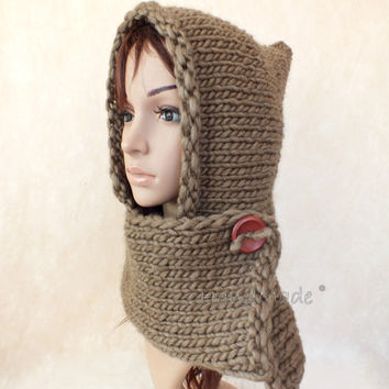 Hand Knit Adult Elf Pixie Hood Hat Super Chunky Camel Pure Merino Wool Womens Accessories Winter