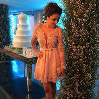 New Vestidos Cocktail Dresses 2016 Long Sleeve V Neck Lace Applique Bow Short Formal Party Dresses