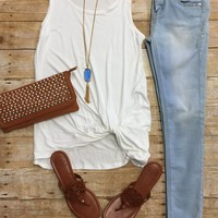 Knotted Tank Top: Ivory