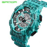 2017 SANDA Shock style Fashion Colorful Men Women Sport Outdoor Digital Analog Alarm 30 Waterproof Military G watches