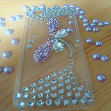 DIY iphone 4/4s case.pink dragonfly.the princess case.clear .jewelry.