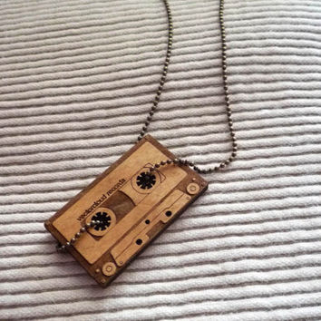 Vintage Cassette Necklace  Brass by VectorCloud on Etsy