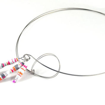 Handmade Statement Choker Necklace Bright Colourful Paper Beads Recycled Vegan Jewellery Makeforgood