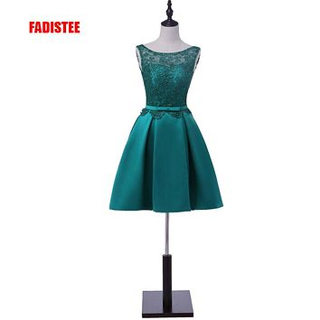 Hot sale Women's cocktail party dresses short dress lace-up sexy V-opening back bow lace dress vestido de noiva free shipping