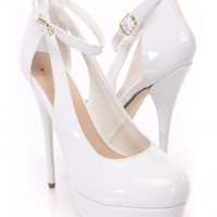 White Closed Toe Ankle Strap Heels Patent