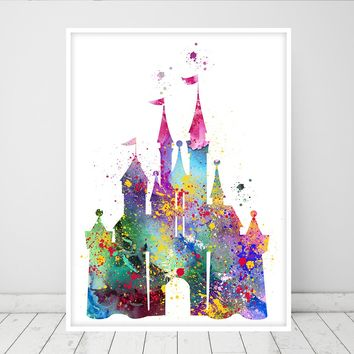 Cinderella Castle Art Watercolor Print, Princess Castle Wall Art Princess Gift Baby World Nursery Decor - 96