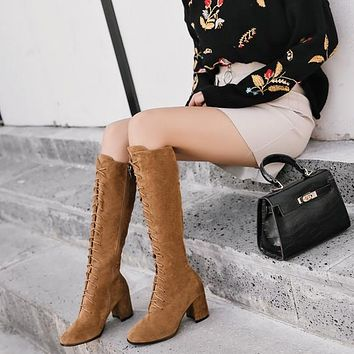 Autumn and winter, Europe and the United States with the new rough with high heels, women's thigh boots, suede strap boots