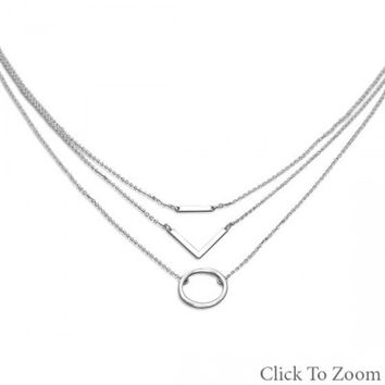 Women's Triple Strand Silver Tone Geometric Fashion Necklace